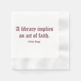 Una biblioteca implica un acto de la fe servilleta de papel
