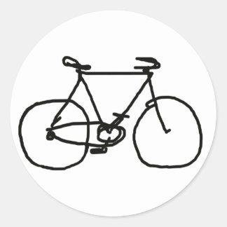 una bicicleta negra estilizada pegatina redonda