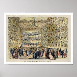 Una bola enmascarada en el teatro de Fenice, Venec Póster