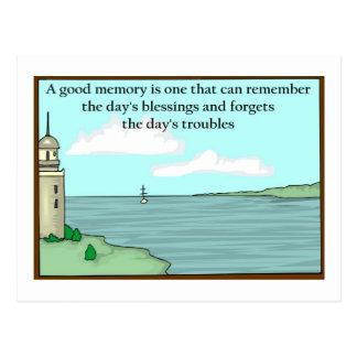 Una buena memoria puede recordar las bendiciones postal