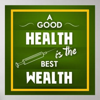 Una buena salud es la mejor riqueza póster