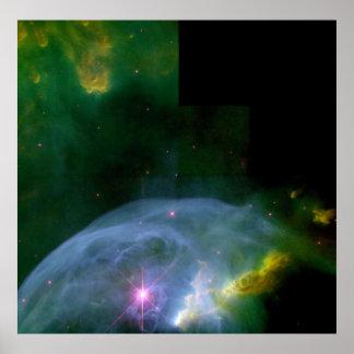 Una burbuja de extensión en poster del espacio