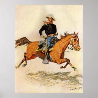 Una caballería manda por Remington, militar del Póster
