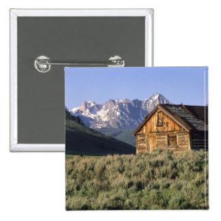 Una cabaña de madera y las montañas del diente de  pin cuadrado