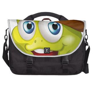 Una cabeza de una tortuga sonriente bolsa para ordenador