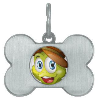 Una cabeza de una tortuga sonriente placas de mascota