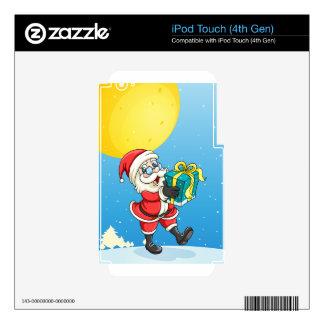 una caja de Papá Noel y de regalo iPod Touch 4G Calcomanía