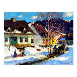 Una calle del pueblo de Quebec - ilustraciones de Tarjeta Postal