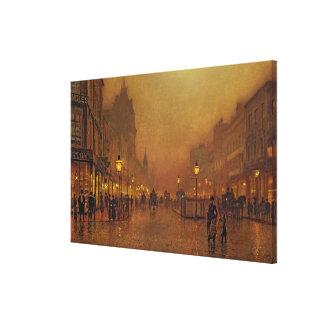 Una calle en la noche (aceite en el panel) impresiones de lienzo