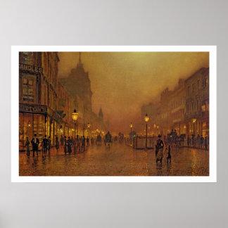 Una calle en la noche (aceite en el panel) póster
