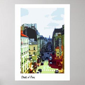 Una calle en poster de París, Francia