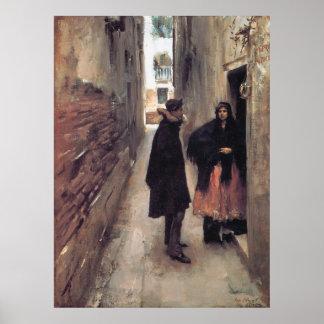Una calle en Venecia, por John Singer Sargent Póster