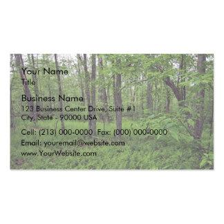 Una cama del helecho alrededor de árboles plantilla de tarjeta personal