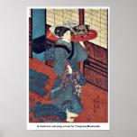 Una camarera que lleva una bandeja por Utagawa, Ku Poster