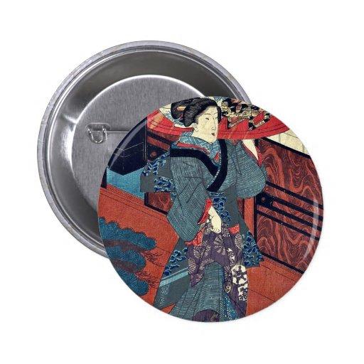 Una camarera que lleva una bandeja por Utagawa, Ku Pins