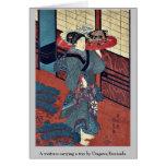 Una camarera que lleva una bandeja por Utagawa, Ku Tarjeton
