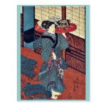 Una camarera que lleva una bandeja por Utagawa, Ku Postal