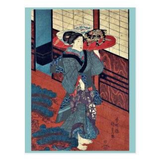 Una camarera que lleva una bandeja por Utagawa, Tarjeta Postal