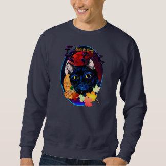 Una camisa del óvalo de Halloween del gato negro