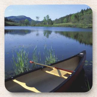 Una canoa descansa sobre la orilla de poca charca  posavasos de bebida