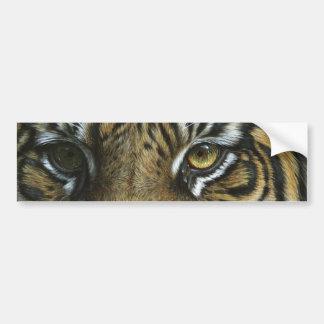 Una cara del tigre pegatina de parachoque