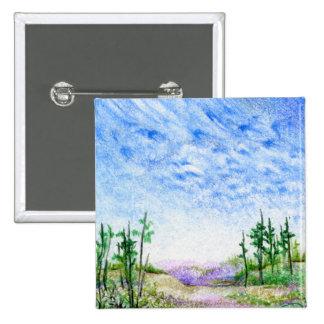Una cara en el paisaje coloreado nubes del lápiz pin cuadrado