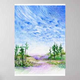 Una cara en el paisaje coloreado nubes del lápiz póster