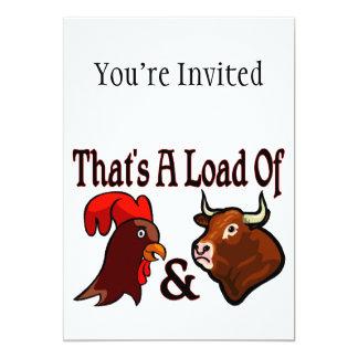 """Una carga del gallo y de Bull Invitación 5"""" X 7"""""""