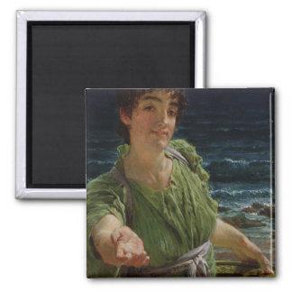 Una Carita, 1883 (oil on panel) 2 Inch Square Magnet