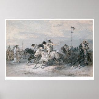 Una carrera de caballos en un campo indio de Siux  Póster