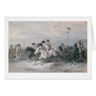 Una carrera de caballos en un campo indio de Siux Tarjeta De Felicitación
