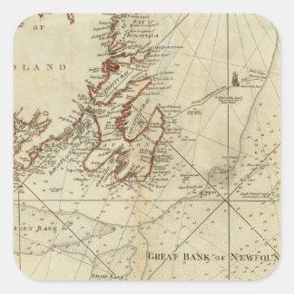 Una carta de los bancos de Terranova Calcomanías Cuadradass