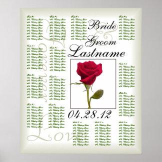 Una carta del asiento de la huésped del boda del r posters