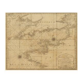 Una carta del canal británico impresión en madera