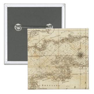 Una carta del canal británico pin cuadrada 5 cm