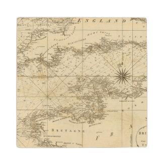 Una carta del canal británico posavasos de madera