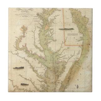 Una carta del Chesapeake y de las bahías de Azulejo Cuadrado Pequeño