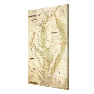 Una carta del Chesapeake y de las bahías de Delawa Impresión En Lienzo