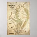 Una carta del Chesapeake y de las bahías de Delawa Posters
