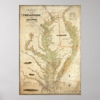 Una carta del Chesapeake y de las bahías de Delawa Póster