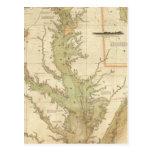 Una carta del Chesapeake y de las bahías de Delawa Tarjetas Postales