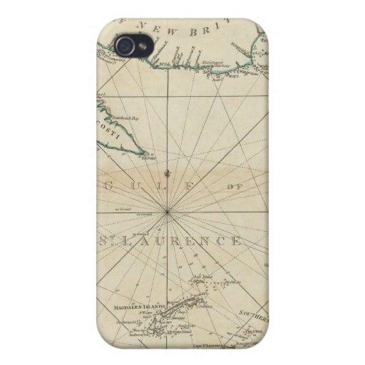 Una carta del golfo de St Lawrence iPhone 4 Carcasas