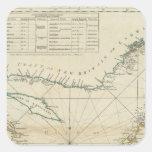 Una carta del golfo de St Lawrence Pegatina Cuadrada