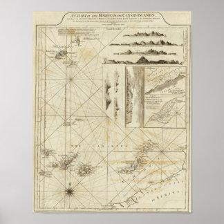 Una carta del Maderas y de las islas Canarias Impresiones
