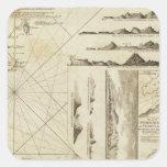 Una carta del Maderas y de las islas Canarias Pegatina Cuadrada