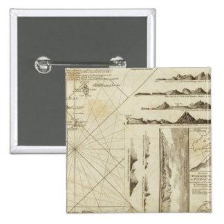 Una carta del Maderas y de las islas Canarias Pin Cuadrada 5 Cm