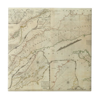 Una carta exacta del río St Lawrence Azulejo Cuadrado Pequeño