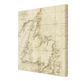 Una carta general de la isla de Terranova Lona Estirada Galerías