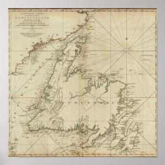 Una carta general de la isla de Terranova Póster