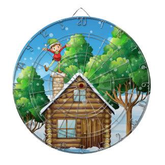 Una casa de madera con un duende juguetón en el